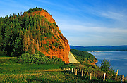Warm light on hill along the Gaspe coast<br /> Perce<br /> Quebec<br /> Canada