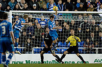 Photo: Daniel Hambury.<br />Reading v Luton Town. Coca Cola Championship.<br />03/12/2005.<br />Reading's Kevin Doyle (L) heads in the third goal as stranded Luton keeper Marlon Beresford (R) can only watch.