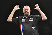 Raymond van Barneveld misses a checkout during the Betway Premier League Darts at the Manchester Arena, Manchester, United Kingdom on 23 March 2017. Photo by Mark Pollitt.