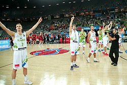 Klemen Prepelic of Slovenia, Zoran Dragic of Slovenia celebrate after winning during basketball match between Slovenia and Macedonia at Day 6 in Group C of FIBA Europe Eurobasket 2015, on September 10, 2015, in Arena Zagreb, Croatia. Photo by Vid Ponikvar / Sportida ###THIS IMAGE IS JUST FOR USE IN SLOVENIA!!! ###