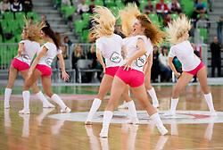 Cheerleaders Dragon Ladies perform during basketball match between KK Union Olimpija and Crvena Zvezda Beograd in 16th Round of ABA League, on January 5, 2013 in Arena Stozice, Ljubljana, Slovenia. Crvena Zvezda defeated Union Olimpija 70-56. (Photo By Vid Ponikvar / Sportida.com)