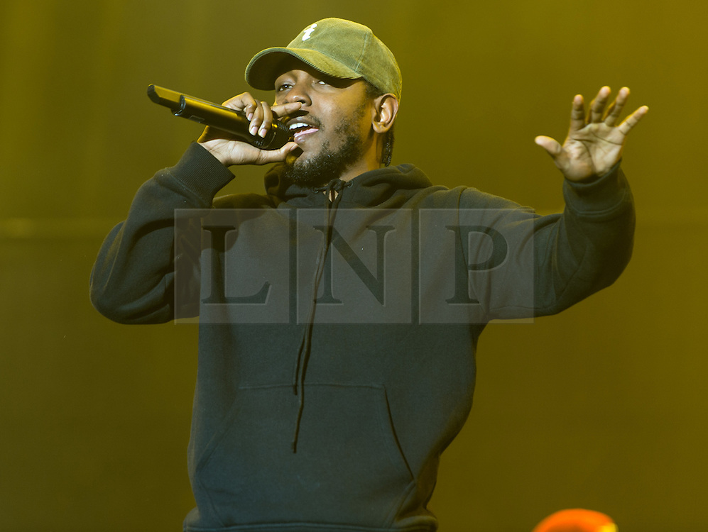 © Licensed to London News Pictures. 30/08/2015. Reading, UK. Kendrick Lamar performing at Reading Festival 2015, Day 3 Sunday.  Photo credit: Richard Isaac/LNP