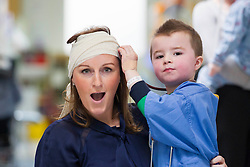 Jenny brings magic kisses to Temple Street . Rhys Law (age 4) is pictured with Jenny Kelly, Today FM presenter with her partner Ray D'arcy and busy mum of two as she visited Temple Street Children's Hospital to launch Kiss Them Better - the hospital's newest appeal to raise vital funds for emergency equipment.  She is asking mums everywhere to pick up a pack of Medicare Kiss Them Better plasters from their local pharmacies.  For every special pack bought, Medicare will make a donation to help sick children get better.  Picture Andres Poveda