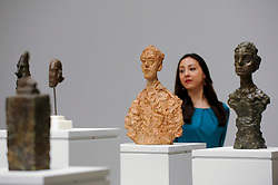 © Licensed to London News Pictures. 08/05/2017. London, UK. Some of the 20 spectacular heads welcoming visitors to the exhibition. Preview of the UK's first major retrospective of Alberto Giacometti for 20 years at Tate Modern.  The exhibition runs 10 May to 10 September 2017. Photo credit : Stephen Chung/LNP