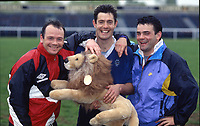 Rugby Union - 1993 British Lions Tour of New Zealand - Training pre-departure<br /> <br /> Scotland and Lions captain Gavin Hastings (centre), with Wales captain Ieuan Evans (left) and England captain Will Carling (right), and the Lions fluffy mascot.