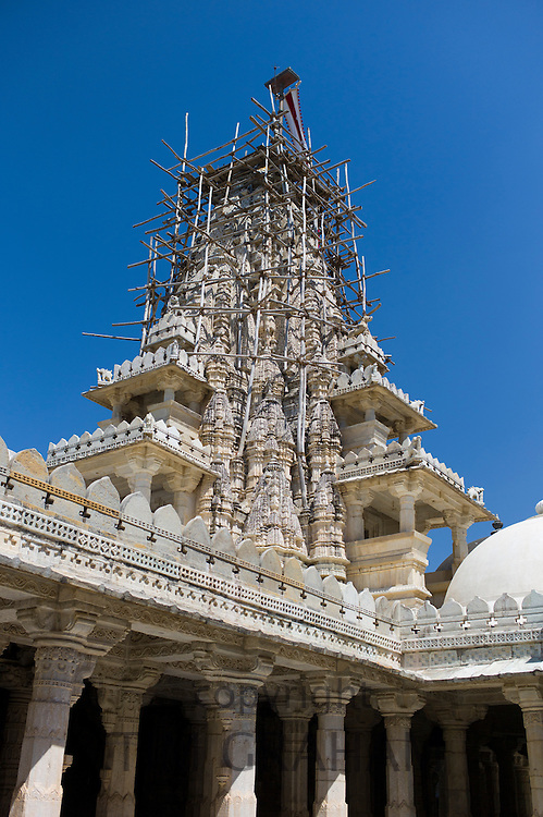 The Ranakpur Jain Temple being renovated at Desuri Tehsil in Pali District of Rajasthan, Western India