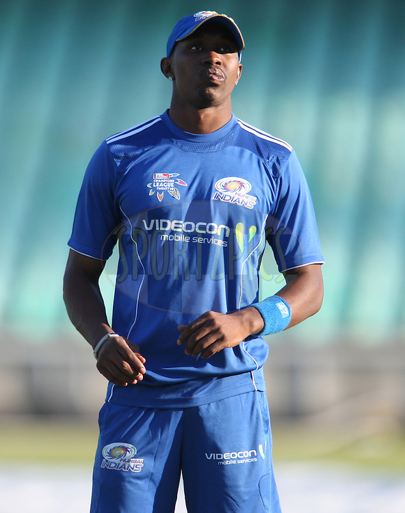 Dwayne Bravo during the Mumbai Indians training session held at Kingsmead Stadium in Durban on the 12 September 2010..Photo by: Steve Haag/SPORTZPICS/CLT20.