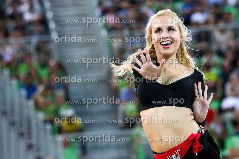 Cheerleaders Dragon Ladies - Zmajcice at friendly basketball match between National teams of Slovenia and Serbia, on August 27 in SRC Stozice, Ljubljana, Slovenia. Photo by Matic Klansek Velej / Sportida August 27, 2015