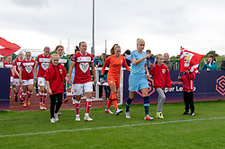 Loren Dykes of Bristol City and Steph Houghton of Manchester City Women lead out the teams - Mandatory by-line: Paul Knight/JMP - 16/09/2018 - FOOTBALL - Stoke Gifford Stadium - Bristol, England - Bristol City Women v Manchester City Women - Continental Tyres Cup