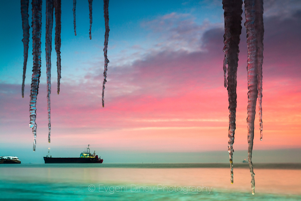 Icicles by the sea coast