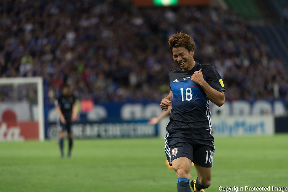 Football Soccer - Japan v Australia - World Cup 2018 Qualifier - Saitama Stadium 2002, Saitama, Japan - 31/08/17. Japan's Asano Takuma celebrates after scored their second goal. 31/08/2017-Saitama, JAPAN
