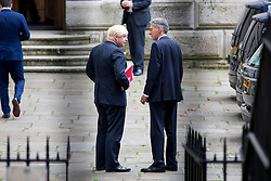 © Licensed to London News Pictures. 21/09/2017. London, UK. Foreign and Commonwealth Secretary Boris Johnson chat in Downing Street after attending a Cabinet meeting this morning. Photo credit : Tom Nicholson/LNP