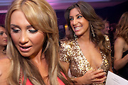 ESSEX MEETS CHELSEA; LAUREN GOODGER; GABRIELLA ELLIS;, The London Bar and Club awards. Intercontinental Hotel. Park Lane, London. 6 June 2011. <br /> <br />  , -DO NOT ARCHIVE-© Copyright Photograph by Dafydd Jones. 248 Clapham Rd. London SW9 0PZ. Tel 0207 820 0771. www.dafjones.com.