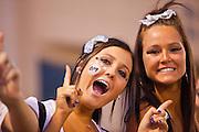 23 SEPTEMBER 2011 - SCOTTSDALE, AZ: Kenzie Weller (CQ) LEFT and Grace Metz (CQ) both juniors, cheer for the home team at Desert Mountain High School in Scottsdale. Desert Mountain played Notre Dame in Desert Mountain's homecoming high school football game.    PHOTO BY JACK KURTZ