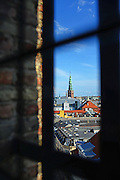 View of city skyline from Rundetaarn, or the round tower, 17th century tower and observatory, the oldest functioning observatory in Europe, Copenhagen, Denmark.