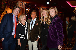 Left to right, JUSTIN MALLINSON, ELAINE PAIGE, VALENTINO, NICKY CLARKE and KELLY SIMPKIN at a party to celebrate the publication of 'Passion for Life' by Joan Collins held at No41 The Westbury Hotel, Mayfair, London on21st October 2013.