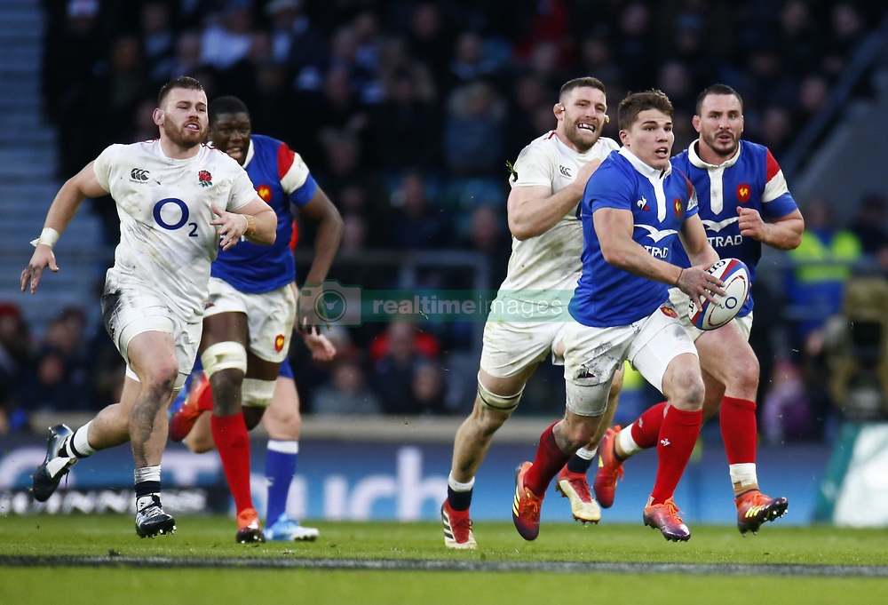 February 10, 2019 - London, England, United Kingdom - Antoine Dupont of France..during the Guiness 6 Nations Rugby match between England and France at Twickenham  Stadium on February 10th,  in Twickenham, London, England. (Credit Image: © Action Foto Sport/NurPhoto via ZUMA Press)