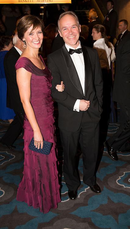 OSLO,  20131210:  Nobel Fredspris bankett på Grand Hotel. Jan Tore Sanner og kona Solveig Barstad.  FOTO: TOM HANSEN