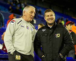 BIRKENHEAD, ENGLAND - Friday, November 16, 2012: Tranmere Rovers' manager Ronnie Moore and Milton Keynes Dons' manager Karl Robinson during the Football League One match at Prenton Park. (Pic by David Rawcliffe/Propaganda)