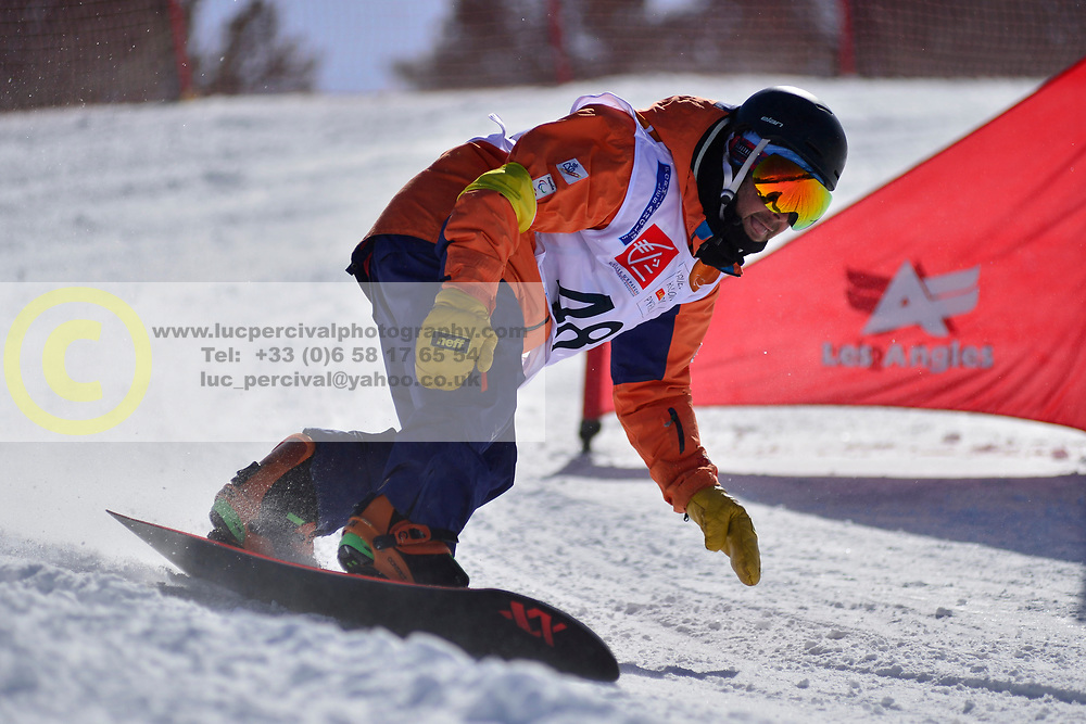 Snowboarder Cross Action, ZABALA EGANA Oier, ESP at the 2016 IPC Snowboard Europa Cup Finals and World Cup