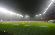 A foggy, misty evening for the UEFA Champions League match between Arsenal and Borussia Dortmund at the Emirates Stadium, London<br /> Picture by Richard Calver/Focus Images Ltd +447792 981244<br /> 26/11/2014