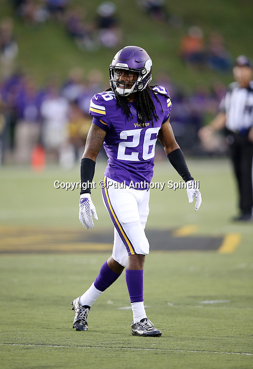 Minnesota Vikings rookie cornerback Trae Waynes (26) smiles during the 2015 NFL Pro Football Hall of Fame preseason football game against the Pittsburgh Steelers on Sunday, Aug. 9, 2015 in Canton, Ohio. The Vikings won the game 14-3. (©Paul Anthony Spinelli)