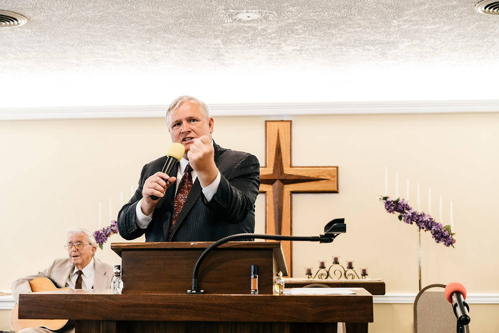 Pastor Chuck Donivan preaches to church members during service at Full Gospel Pentecostal Church in Martinsburg, WV on June 4, 2017.