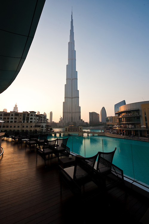 The Burj Khalifa, the world's tallest building as seen from the Address Hotel in Dubai, United Arab Emirates.