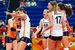 03-10-2018 JPN: World Championship Volleyball Women day 6, Yokohama<br /> Netherlands - Mexico 3-0 / Anne Buijs #11 of Netherlands, Nicole Oude Luttikhuis #17 of Netherlands