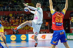 Lazarov of Macedonia during handball match between National teams of Macedonia and Spain on Day 4 in Main Round of Men's EHF EURO 2018, on January 21, 2018 in Arena Varazdin, Varazdin, Croatia. Photo by Mario Horvat / Sportida