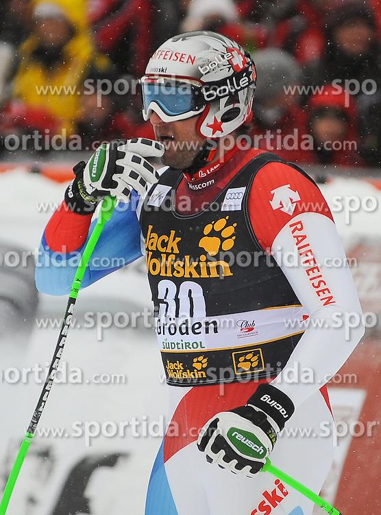 15.12.2012, Sasslong, Groeden, ITA, FIS Weltcup, Ski Alpin, Abfahrt, Herren, im Bild Silvan Zurbriggen (SUI) // Silvan Zurbriggen of Switzerland reacts after his Downhill run of the FIS Ski Alpine Worldcup at the Sasslong course, Groeden, Italy on 2012/12/15. EXPA Pictures © 2012, PhotoCredit: EXPA/ Erich Spiess