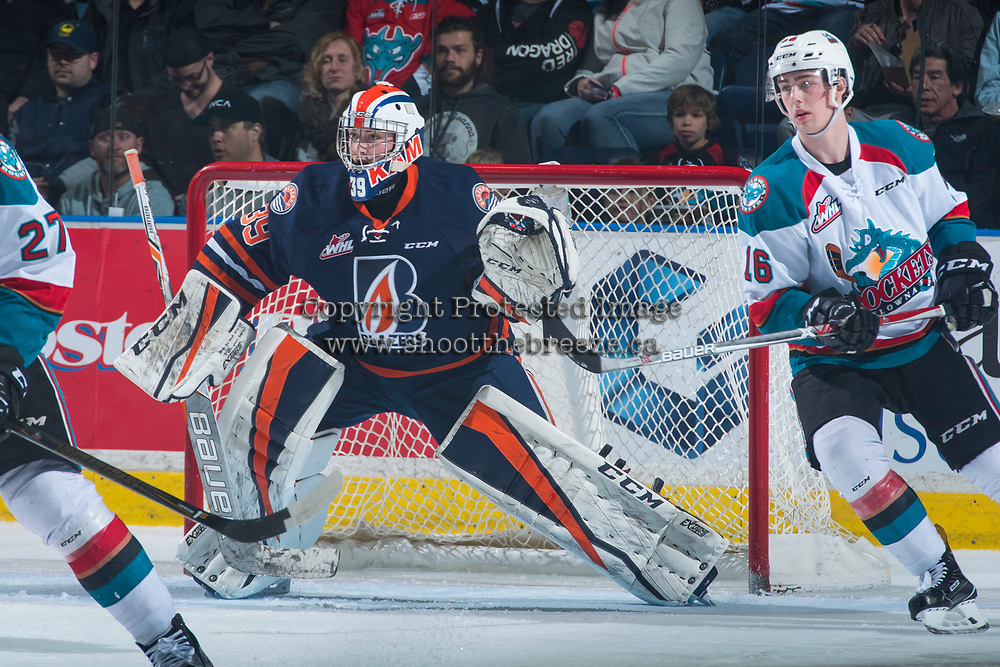 KELOWNA, CANADA - MARCH 31: Connor Ingram #39 of the Kamloops Blazers defends the net against the Kelowna Rockets on March 31, 2017 at Prospera Place in Kelowna, British Columbia, Canada.  (Photo by Marissa Baecker/Shoot the Breeze)  *** Local Caption ***