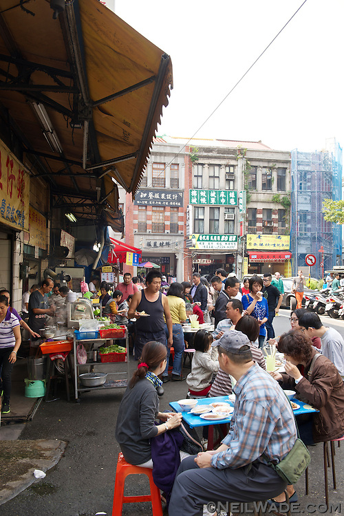Outdoor restaurants on Dihua Street.