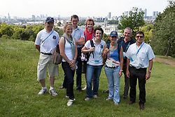 Part of Team Belgium :  Joris Van Springel, Lara de Liedekerke, Vincent Martens,  Constantijn Van Rijckevorsel, Wendy Laeremans (sportsdirector Belgian Equestrian Federation),  Sarah Van Hasselt, Mathieu Beers (chef d'equipe) and Eddy De Smedt (Chef de Mission of the Belgian Olympic team for the London Olympics)<br /> CIC2* Greenwich Park Eventing Invitational<br /> Olympic Test Event - London 2011<br /> © Dirk Caremans
