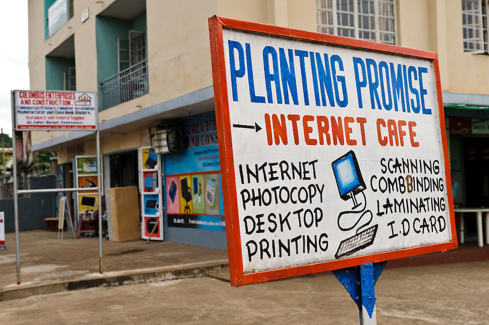 Planting Promise's internet cafe, Freetown, Sierra Leone. Planting Promise is an organization dedicated to the development of education in Sierra Leone. Its aim is to bring opportunities to initiate self-run, self-supporting projects that offer real solutions to the difficulties facing the world's poorest country. They believe real and lasting development comes from below, from local projects that address specific needs, rather than large international models. To this end, they currently run five projects that aim to bring wealth into the country through business. The profits from these businesses are then used to support free education for children and adults...Through the combination of business with social progress, the charity hopes that they are providing real, lasting and profound changes for the better, by promoting sustainable and beneficial industry in the country, and putting it to the service to the needs of the people. As well as providing the income to fund the school, the farms will also be an example of successful commercial enterprise to teach the children in the school the viability of profit-making schemes that go beyond subsistence models, the only things the children of these desperately poor areas are accustomed to. By learning particular details of the challenges that they will face, the children will emerge from this school equipped to contribute in a real way to their society.
