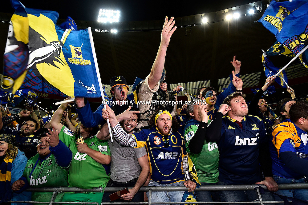 Highlanders fans celebrate their win during the Super Rugby final rugby match between the Hurricanes and Highlanders at the Westpac Stadium in Wellington on Saturday the 4th of July 2015. Copyright photo by Marty Melville / www.Photosport.nz