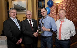 Westport GAA Club dinner dance, Kristian Sheridan accecpted Westport hurler of the Year award from John Hopkins Chairman Mayo Hurling Board alongside Declan Gallagher and Colm Forrestal.<br /> Pic Conor McKeown