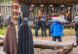 Pictured: Duncarron Medieval Village Opening. Carron Valley Forest, Lanarkshire, 18 May 2019. In authentic Scottish weather, The Clanranald Trust opens a full-scale replica of an early Medieval Fortified Village typical of a Scottish Clan Chief's residence. The open air museum includes traditional buildings such as round houses, a great hall, and tower. The event kicks off with Saor Patrol, fronted by Charlie Allan, CEO of Clanranald Trust.<br /> Sally Anderson | EdinburghElitemedia.co.uk