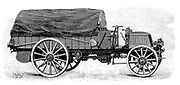 Army truck by Daimler, with 4 cylinder 12 hp engine 1904. Engraving.