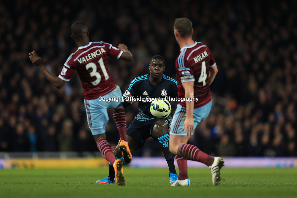4 March 2015 - Barclays Premier League - West Ham United v Chelsea - Kurt Zouma of Chelsea in action with Enner Valencia and Kevin Nolan of West Ham - Photo: Marc Atkins / Offside.
