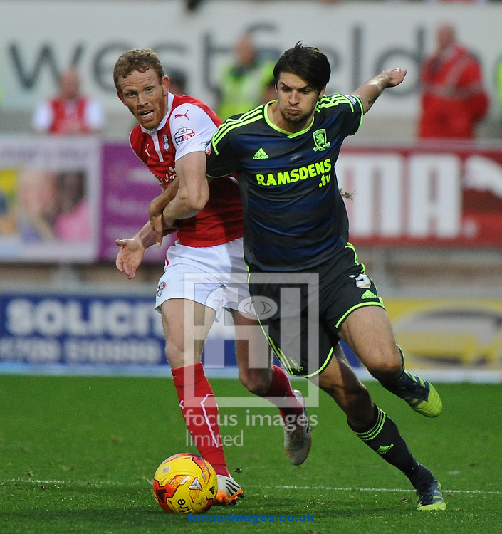 Paul Green of Rotherham United and George Friend of Middlesbrough during the Sky Bet Championship match at the New York Stadium, Rotherham<br /> Picture by Richard Land/Focus Images Ltd +44 7713 507003<br /> 01/11/2014