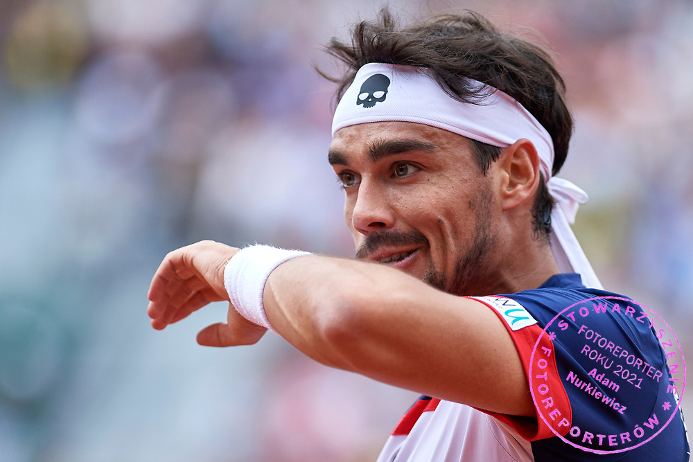 Paris, France - 2017 June 03: Fabio Fognini from Italy  reacts after winning point while his men's single match third round during tennis Grand Slam tournament The French Open 2017 (also called Roland Garros) at Stade Roland Garros on June 03, 2017 in Paris, France.<br /> <br /> Mandatory credit:<br /> Photo by &copy; Adam Nurkiewicz<br /> <br /> Adam Nurkiewicz declares that he has no rights to the image of people at the photographs of his authorship.<br /> <br /> Picture also available in RAW (NEF) or TIFF format on special request.<br /> <br /> Any editorial, commercial or promotional use requires written permission from the author of image.