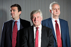 © Licensed to London News Pictures . 21/07/2016 . Manchester , UK . L-R Tony Lloyd ( current interim Mayor ) , Andy Burnham ( MP for Leigh ) and  Ivan Lewis ( MP for Bury South ) pose ahead of the hustings . Hustings for the Mayoralty of Greater Manchester , at the Renold Building of the University of Manchester . Labour candidates Andy Burnham ( MP for Leigh ) , Tony Lloyd ( current interim Mayor ) and  Ivan Lewis ( MP for Bury South ) debate their relative candidacies . Photo credit : Joel Goodman/LNP
