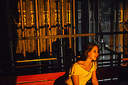 Mimoza Bytyqi at the backstage during a warm up before a performance in the National Theater of Kosovo, Pristina. Most of the troupe members work full time for the ballet. But in post-war Kosovo, where living cost is high and unemployment are widespread, they only can earn as little as 250-350 euro per month which is proved difficult.