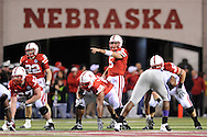 November 21, 2009: Quarterback Zac Lee #5 of the Nebraska Cornhuskers calls out a play against the Kansas State Wildcats in the second quarter at Memorial Stadium in Lincoln, Nebraska.