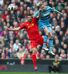 07.04.2013, Anfield, Liverpool, ENG, Premier League, FC Liverpool vs West Ham United, 32. Runde, im Bild Liverpool's Jose Enrique in action against West Ham United's Jack Collison during during the English Premier League 32th round match between Liverpool FC and West Ham United FC at Anfield, Liverpool, Great Britain on 2013/04/07. EXPA Pictures © 2013, PhotoCredit: EXPA/ Propagandaphoto/ David Rawcliffe..***** ATTENTION - OUT OF ENG, GBR, UK *****