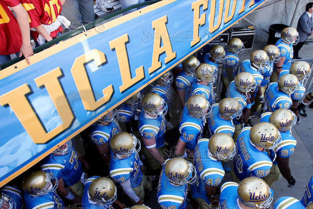 2 December 2006: Players exit the tunnel before the Pac-10 college football upset UCLA beat the Trojans 13-9 during the final home game of the season for the UCLA Bruins vs the University of Southern California USC  Trojans at the Rose Bowl in Pasadena, CA.<br />