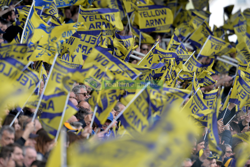 April 1, 2018 - Clermont Ferrand - Stade Marcel, France - Supporters avec leurs drapeaux  (Credit Image: © Panoramic via ZUMA Press)