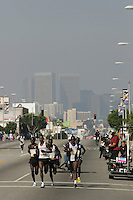 6 March, 2005: Elite runners including #5 Mark Saina of Kenya run with Century City in the background during the 20th running of the LA Marathon  in Los Angeles, CA..