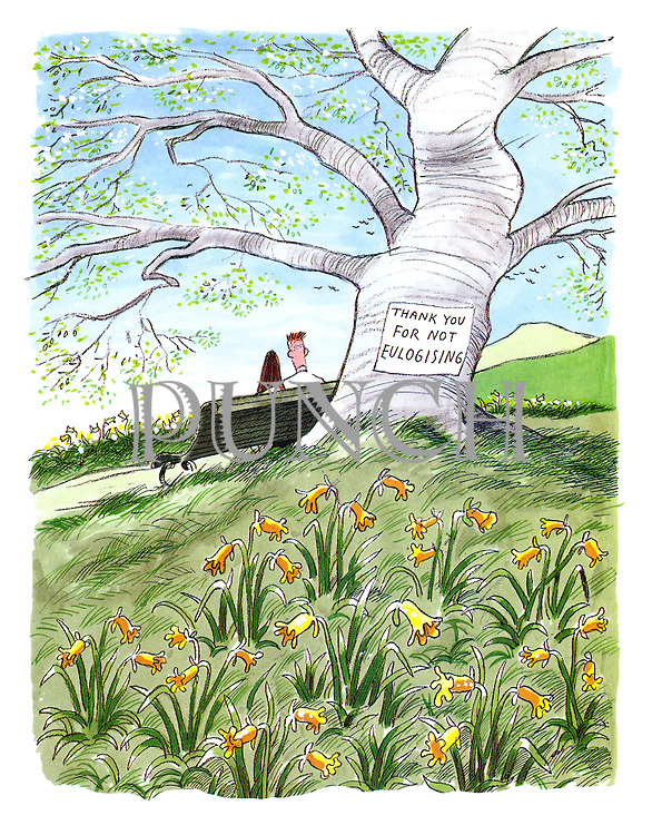 (A tree in a spring landscape covered with daffodils bears a sign reading: 'Thank you for not eulogising')
